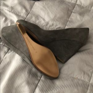 Grey wedge shoes